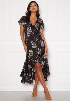 Chiara Forthi Nadine wrap flounce dress Black / Patterned Bubbleroom.fi