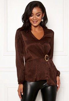 Chiara Forthi Noemi buckle wrap blouse Brown Bubbleroom.fi