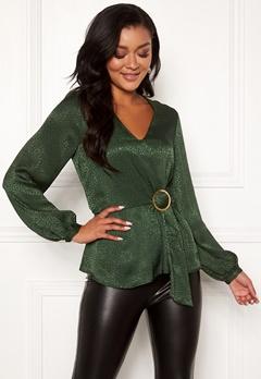 Chiara Forthi Noemi buckle wrap blouse Emerald green Bubbleroom.fi
