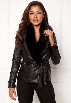 Chiara Forthi Positano Faux Fur Collar Jacke Black Bubbleroom.fi