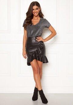 Chiara Forthi Rivalta faux leather flounce skirt Black Bubbleroom.fi