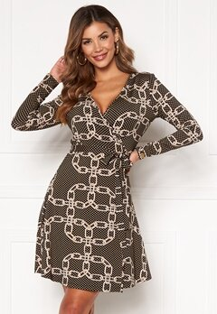 Chiara Forthi Sonnet Mini Wrap Dress Black / Patterned Bubbleroom.fi