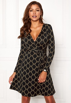 Chiara Forthi Sonnet Mini Wrap Dress Black Bubbleroom.fi