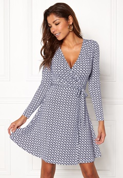 Chiara Forthi Sonnet Mini Wrap Dress Blue / White Bubbleroom.fi