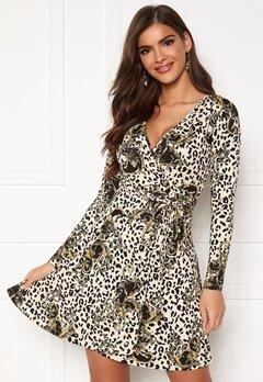 Chiara Forthi Sonnet Mini Wrap Dress Leopard / Black / Patterned Bubbleroom.fi
