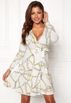 Chiara Forthi Sonnet Mini Wrap Dress Offwhite / Patterned Bubbleroom.fi