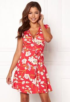 Chiara Forthi Sonnet Mini Wrap Dress s/s Red / Floral Bubbleroom.fi