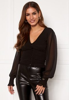 Chiara Forthi Sue ruffle blouse Black Bubbleroom.fi