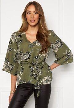 Chiara Forthi Turin tie belt blouse Khaki green / Floral Bubbleroom.fi
