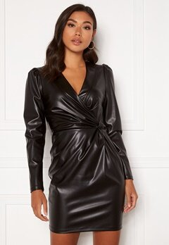 Chiara Forthi Vanni draped faux leather dress Black Bubbleroom.fi