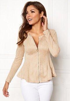 Chiara Forthi Zipped faux suede jacket Beige Bubbleroom.fi