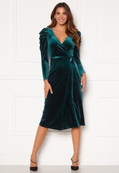 Chiara Forthi Laury puff sleeve wrap dress Green Bubbleroom.fi