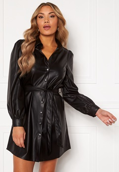 Chiara Forthi Faye faux leather shirt dress Black Bubbleroom.fi