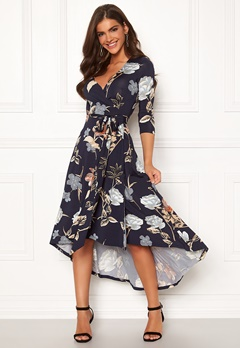 Chiara Forthi Tara 3/4 Sleeve Highlow Dress Dark navy Bubbleroom.fi