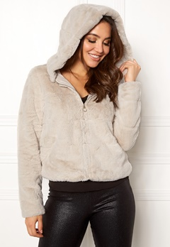 ONLY Chris Fur Hooded Jacket Pumice Stone Bubbleroom.fi