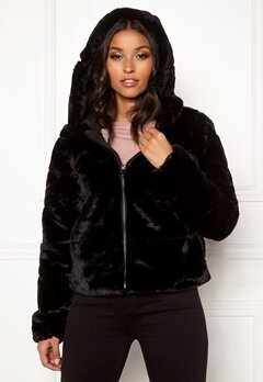 ONLY Chris Fur Hooded Jacket Black Bubbleroom.fi