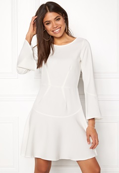Closet London Fit Flare Frill Dress White Bubbleroom.fi