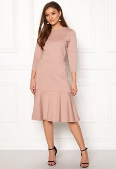 Closet London Long Sleeve Peplum Dress Nude Bubbleroom.fi