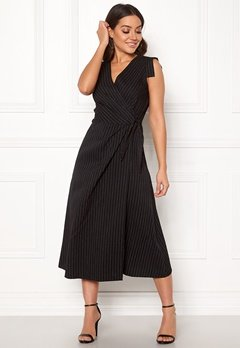 Closet London Wrap Front Midi Dress Black Stripe Bubbleroom.fi