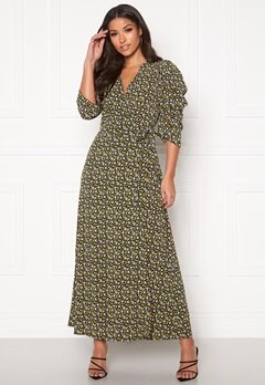 co'couture Alina Flower Wrap Dress Mustard Bubbleroom.fi