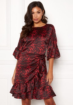 co'couture Animal Sateen Wrap Dress Rio Red Bubbleroom.fi