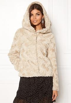 VERO MODA Curl Hoody Faux Fur Short Oatmeal Bubbleroom.fi