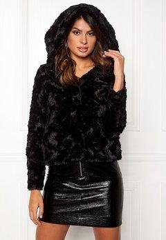 VERO MODA Curl Hoody Faux Fur Short Black Bubbleroom.fi