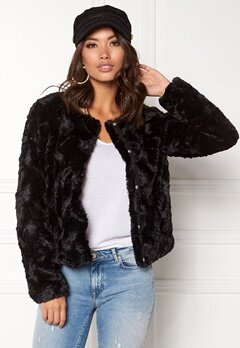 VERO MODA Curl Short Fake Fur Jacket Black Bubbleroom.fi