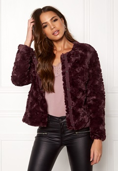VERO MODA Curl Short Fake Fur Jkt Winetasting Bubbleroom.fi