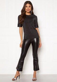 DRY LAKE Flarry Trousers 027 Black Faux Leath Bubbleroom.fi