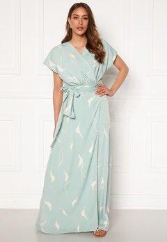 DRY LAKE Floral Long Dress 841 Mint White Wave Bubbleroom.fi