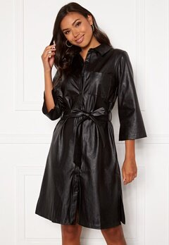 DRY LAKE Gullis Dress 027 Black Faux Leath Bubbleroom.fi