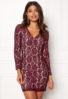 DRY LAKE Mythology Dress Burgundy Lace Bubbleroom.fi