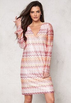 DRY LAKE Ziczac Short Dress Pink Sunset Bubbleroom.fi