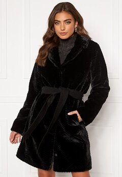 DRY LAKE Zig Zag Faux Fur Coat 030 Black Faux Fur Bubbleroom.fi