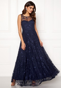 Goddiva Embroidered Maxi Dress Navy Bubbleroom.fi