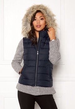 TOMMY HILFIGER Essential Hooded Vest Black Iris Bubbleroom.fi