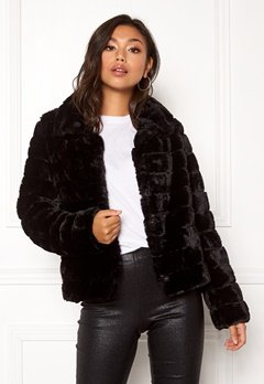 VILA Farry Faux Fur Jacket Black Bubbleroom.fi