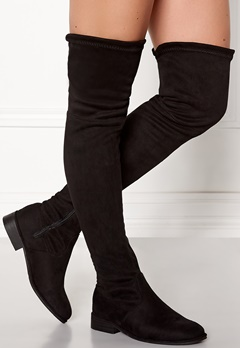 AX Paris Faux Suede High Boots Black Bubbleroom.fi