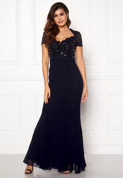 Goddiva Fishtail Maxi Dress Navy Bubbleroom.fi