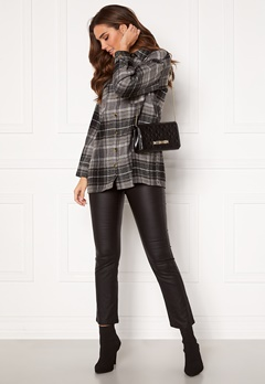 Noisy May Flanny L/S Long Shacket Black, Checks:BW/Gre Bubbleroom.fi