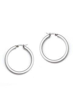 WOS Flat Silver Hoops Earring Silver Bubbleroom.fi