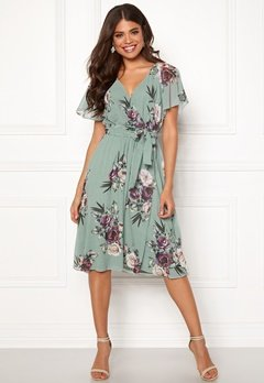 Goddiva Floral Flutter Midi Dress Duck Egg Bubbleroom.fi