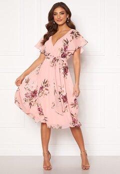 Goddiva Floral Flutter Midi Dress Peach Bubbleroom.fi