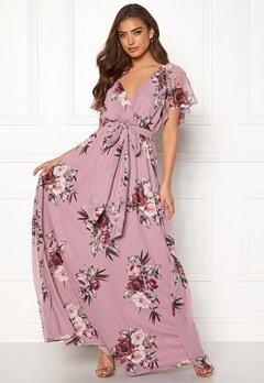 Goddiva Floral Sleeve Maxi Dress Lavender Bubbleroom.fi