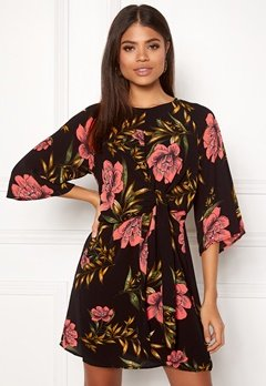AX Paris Floral Tie Front Dress Black Bubbleroom.fi