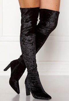 Francesco Milano Velvet Overknee Boots Nero Bubbleroom.fi
