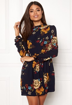 AX Paris Frill Detail Floral Dress Navy Bubbleroom.fi