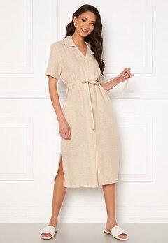 GANT Linen Chambray SS Shirt Dress Dry Sand Bubbleroom.fi