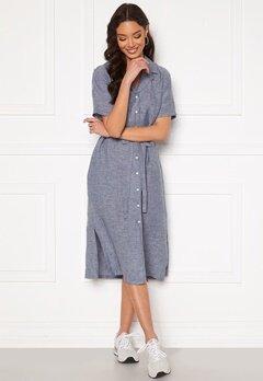 GANT Linen Chambray SS Shirt Dress Persian Blue Bubbleroom.fi